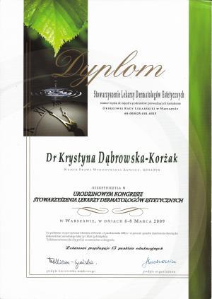 Dyplom uczestnictwa w URODZINOWYM KONGRESIE STOWARZYSZENIA LEKARZY DERMATOLOGÓW ESTETYCZNYCH