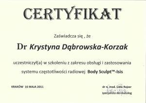Certyfikat uczestnictwa w szkoleniu z zakresu obsługi i zastosowania