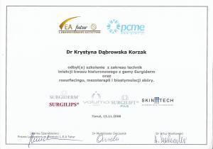 Certyfikat odbycia szkolenia z zakresu technik iniekcji kwasu hialuronowego z gamy Surgiderm oraz resurfacingu, mezoterapii i biostymulacji skóry.