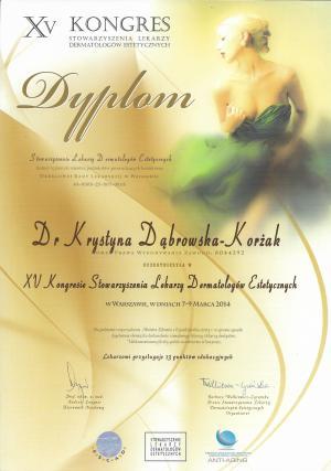 Certyfikat uczestnictwa w XV Kongresie Stowarzyszenia Lekarzy Dermatologów Estetycznych