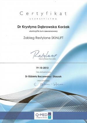 Certyfikat ukończenia kursu zaawansowanego: Zabieg Restylane SKINLIFT