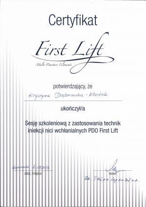 Certyfikat ukończenia sesji szkoleniowej z zastosowania technik iniekcji nici wchłanialnych PDO First Lift