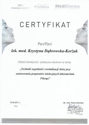 """Certyfikat odbycia szkolenia na temat: """"Techniki wypełnień i rewitalizacji skóry przy zastosowaniu preparatów iniekcyjnych"""""""