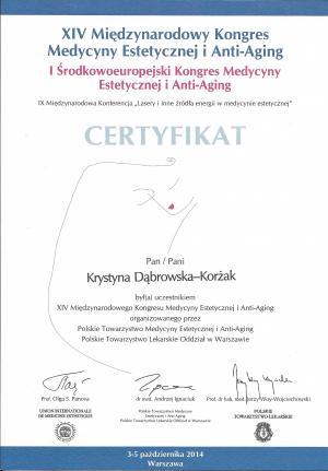 Certyfikat uczestnictwa XIV Międzynarodowego Kongresu Medycyny Estetycznej i Anty-Agnig