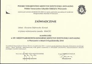 Certyfikat uczestnictwa w XIV Międzynarodowym Kongresie Medycyny Estetycznej i Anty-Agnig