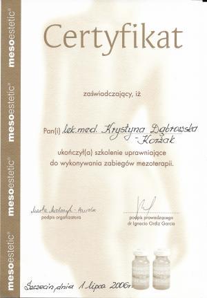 Certyfikat ukończenia szkolenia uprawniającego do wykonywania zabiegów mezoterapii