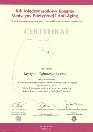 Certyfikat uczestnictwa w XIII Międzynarodowym Kongresie Medycyny Estetycznej i Anty-Agnig