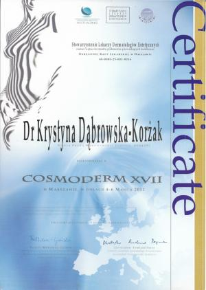 Certyfikat uczestnictwa w Cosmoderm XVII