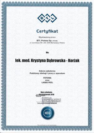 Certyfikat ukończenia szkolenia: Podstawy obsługi i pracy z aparatem Fotona oraz Laser Peel