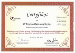 """Certyfikat ukończenia szkolenia: """"Zaawansowane techniki łączone - lipoza iniekcyjna, mezoterapia igłowa Dermaheal, mezoterapia głęboka Aquashine oraz karboksyterapia Venusian CO2 Therapy"""""""
