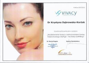 """Certyfikat uczestnictwa w szkoleniu: """"Modelowanie twarzy z zastosowaniem kwasu hialuronowego StylAge - technika SoftLifting"""""""