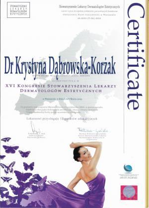 Certyfikat uczestnictwa w XVI Kongresie Stowarzyszenia Lekarzy Dermatologów Estetycznych