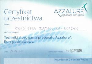 """Certyfikat ukończenia kursu """"Techniki stosowania preparatu Azzalure©. Kurs podstawowy."""""""