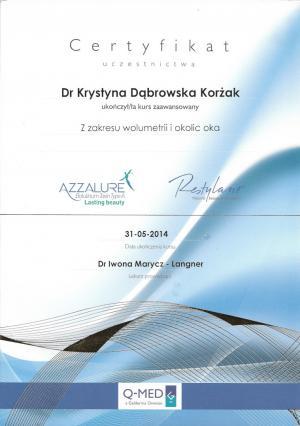 Certyfikat ukończenia zaawansowanego kursu z zakresu wolumetrii i okolic oka