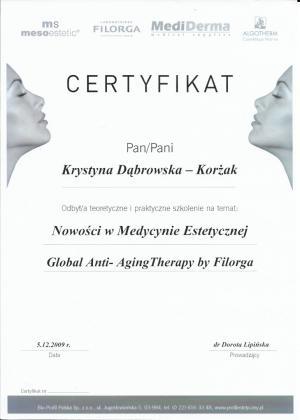 Certyfikat odbycia szkolenia na temat: Nowości w medycynie estetycznej Global Anty-Aging Therapy by Filorga