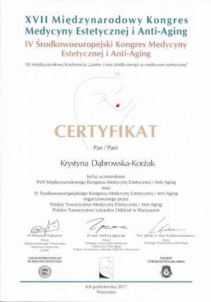 Certyfikat uczestnictwa w XVII Międzynarodowym Kongresie Medycyny Estetycznej i Anty-Aging oraz IV Środkowoeuropejskiego Kongresu Medycyny Estetycznej i Anty-Aging