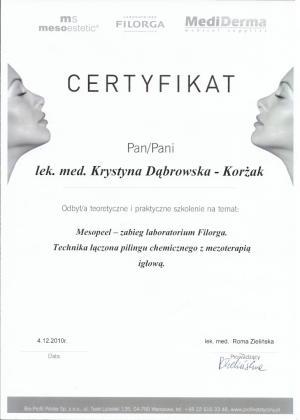 Certyfikat odbycia praktycznego szkolenia na temat: Mesopeel - zabieg labolatorium Filorga. Technika łączona peelingu chemicznego z mezoterapią igłową.