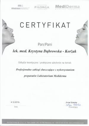Certyfikat odbycia praktycznego szkolenia na temat: Profesjonalne zabiegi złuszczające z wykorzystaniem preparatów Labolatorium Mediderma