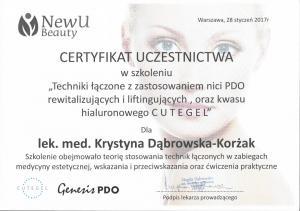 """Certyfikat uczestnictwa w szkoleniu """"Techniki łączone z zastosowaniem nici PDO rewitalizujących i liftingujących oraz kwasu hialuronowego CUTEGEL"""""""