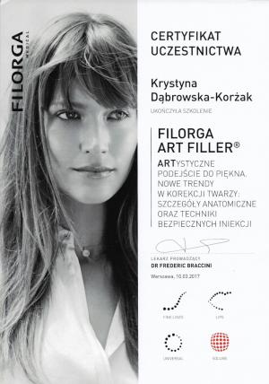 Certyfikat ukończenia szkolenia: Filorga Art Filler®