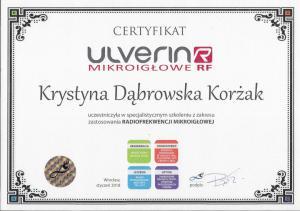 Certyfikat uczestnictwa w szkoleniu z zakresu zastosowania radiofrekwencji mikroigłowej