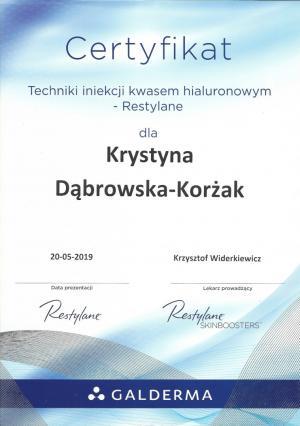 Certyfikat techniki iniekcji kwasem hialuronowym - Restylane