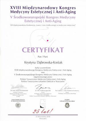 Certyfikat uczestnictwa w XVIII Międzynarodowym Kongresie Medycyny Estetycznej i Anty-Aging oraz V Środkowoeuropejskiego Kongresu Medycyny Estetycznej i Anty-Aging