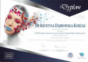Certyfikat uczestnictwa w XVIII Kongresie Stowarzyszenia Lekarzy Dermatologów Estetycznych