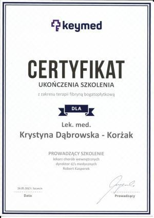 Certyfikat ukończenia szkolenia z zakresu terapii fibryną bogatopłytkową
