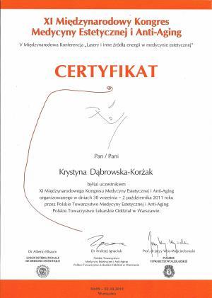 Ceryfikat uczestnictwa w XI Międzynarodowym Kongresie Medycyny Estetycznej i Anty-Aging