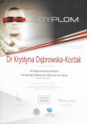 Certyfikat uczestnictwa w XX Międzynarodowym Kongresie Medycyny Estetycznej i Anty-Aging
