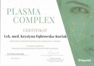 Certyfikat ukończenia szkolenia z zakresu Plasma Complex.