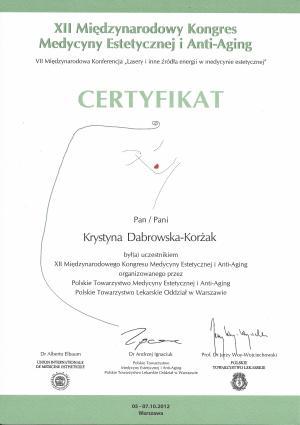 Ceryfikat uczestnictwa w XII Międzynarodowym Kongresie Medycyny Estetycznej i Anty-Aging