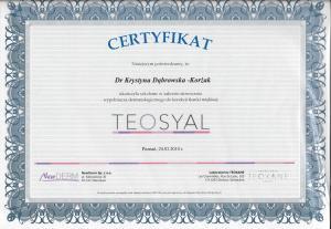 Certyfikat ukończenia szkolenia w zakresie stosowania wypełniacza dermatologicznego do korekcji tkanki miękkiej